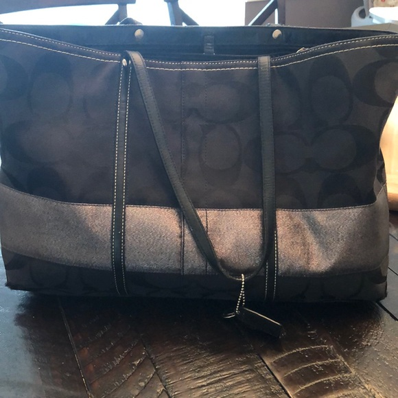 Coach Handbags - Black and silver Coach tote and wallet